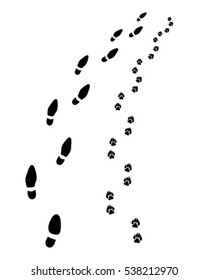 Footprints of man and dog, turn right,vector