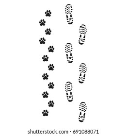 Footprints of man and dog, turn right,vector, prints of human feet and dog paws