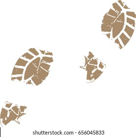 Footprints from a muddy shoe in vector