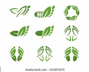 Footprints and natural health. Health Care Logo. Leaves as footprints, Logo Beauty Salon - Abstract - Illustration