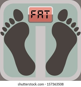 footprints on bathroom scale, scale display shows word fat