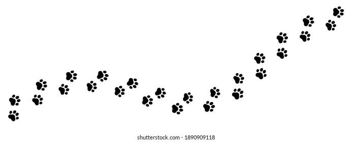 Footprints for pets, dog or cat. Pet prints. Paw pattern. Foot puppy. Black silhouette shape paw print. Footprint pet. Animal track. Trace dogs, cats. Cute background turn right. Design walks. Vector