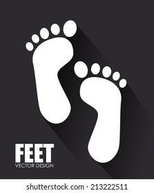 Foots design over black background, vector illustration