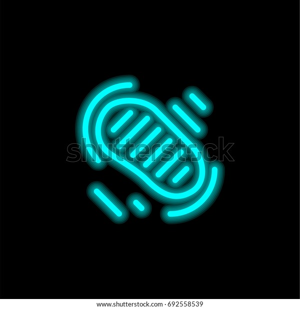 Footstep blue glowing neon ui ux icon. Glowing sign logo vector