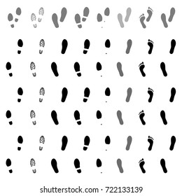 Footsteps. Footprints. Shoe and bare foot print. Shoes imprints set. Foot trail. Vector illustration
