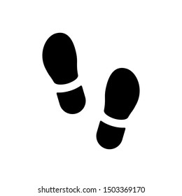 Footsteps icon or footprint silhouette