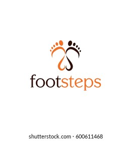 Footsteps vector logo illustration.