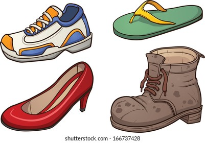 Footwear clip art. Vector cartoon illustration with simple gradients. Each on a separate layer.