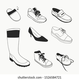 Footwear collection - hand-drawn vector illustration