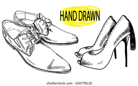 Footwear. Drawing by hand in vintage style. Fashion high-heeled shoes and men's shoes. A set of images.