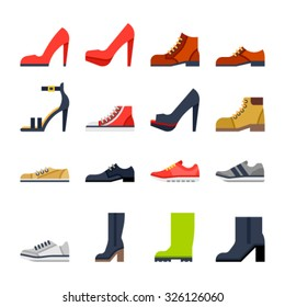 Footwear flat icons. colorfull shoes.