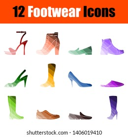 Footwear Icon Set. Flat Color Ladder Design. Vector Illustration.