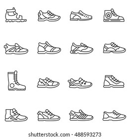 Footwear icons set.sandals, boots, shoes, sneakers collection. Thin line design