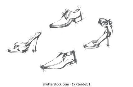 footwear vector woman  man shoes art line sketch abstract