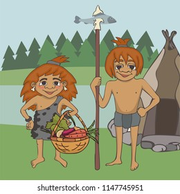 foraging at prehistory, funny vector cartoon stone age diet with fish and vegetables