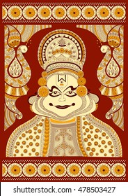 Foral background with Kathakali dancer for Happy Onam showing Incredible India in vector