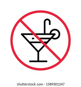 Forbidden alcohol vector icon. No alcohol drink flat sign design. Alcohol restriction icon. Warning caution do not drink alcohol symbol pictogram
