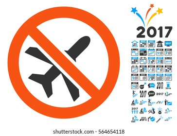 Forbidden Ariplanes icon with bonus 2017 new year design elements. Vector illustration style is flat iconic symbols,modern colors.