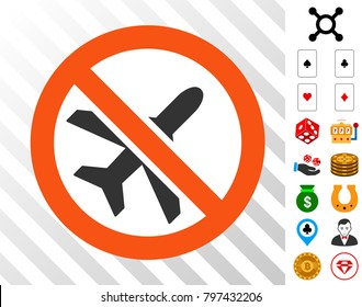 Forbidden Ariplanes icon with bonus gamble icons. Vector illustration style is flat iconic symbols. Designed for casino ui.