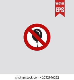 Forbidden balloon icon in trendy isolated on grey background.Vector illustration.