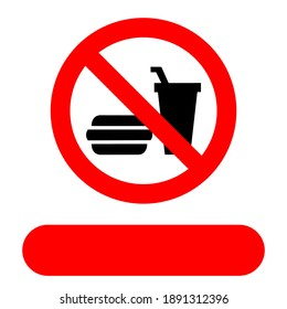 it is forbidden to bring food from outside. The red circle forbids. symbol of prohibition in public places. fields can be filled in with your own country language.