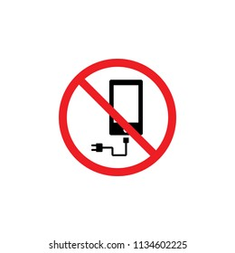 it is forbidden to charge the phone, the adapter , forbidden icon , forbidden sign , CYMK color , glyph icon