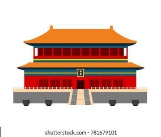 Forbidden City in Beijing, China. Flat cartoon style vector illustration.