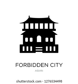 forbidden city icon vector on white background, forbidden city trendy filled icons from Asian collection, forbidden city vector illustration