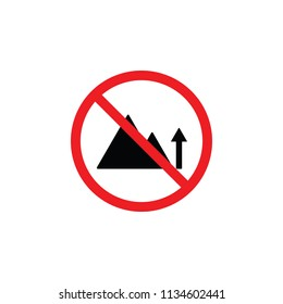 it is forbidden to climb a mountain, a mountain is forbidden, it is forbidden to climbers , CYMK color , glyph icon