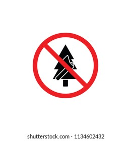 it is forbidden to cut down trees, it is forbidden to cut, forbidden icon , forbidden sign , CYMK color , glyph icon