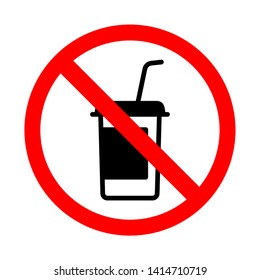 Forbidden drink and food icon. Bright warning, restriction sign on a white background. Vector illustration of a collection of prohibition signs