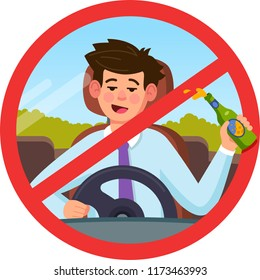Forbidden to drink at the wheel, the man at the wheel. Decoration for greeting cards, posters, patches, prints for clothes, emblems. Modern flat style illustration.