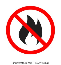 forbidden fire vector icon, warning flammable sign, attention flammable fire, forewarning danger. No flame vector sign