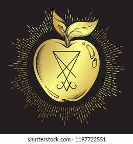 Forbidden fruit apple from the tree of knowledge with the sigil of Lucifer malum malus isolated hand drawn line art and dot work vector illustration. Sticker, print or blackwork flash tattoo design