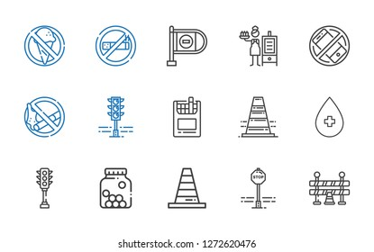 forbidden icons set. Collection of forbidden with traffic barrier, stop sign, cone, cones, traffic light, alcohol, traffic cone, cigarettes. Editable and scalable forbidden icons.