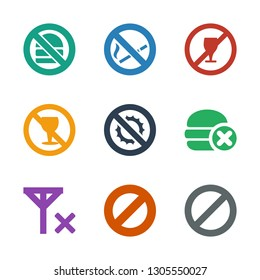 forbidden icons. Trendy 9 forbidden icons. Contain icons such as prohibited, no al, no fast food, no brightness, alcohol, drink, smoking. forbidden icon for web and mobile.
