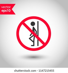 Forbidden lean icon. Do not lean vector sign. Prohibited lean vector icon. Warning, caution, attention, restriction. Don't lean on door icon.