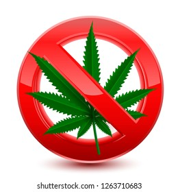 Forbidden no marijuana red sign, vector illustration design isolated over a white background