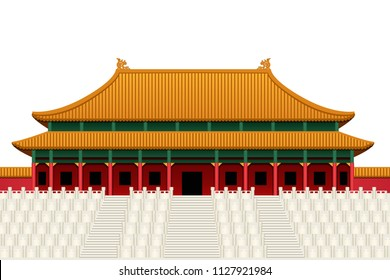 The Forbidden Palace in Beijing China.Graphic vector