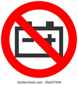 Forbidden sign with accumulator icon isolated on white background. Accumulator is prohibited vector illustration. Accumulator is not allowed image. Accumulators are banned.