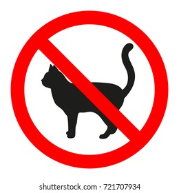 forbidden sign of a cat on a white background