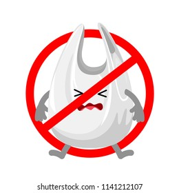 Forbidden sign with catoon plastic bag. Global warming concept. Illustration isolated on white background.