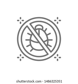 Forbidden sign with dust mites, no dust, anti allergic materials line icon.