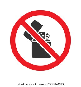Forbidden sign with flip lighter glyph icon. Stop silhouette symbol. No smoking prohibition. Negative space. Vector isolated illustration