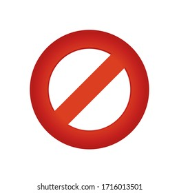 forbidden sign icon over white background, gradient style, vector illustration