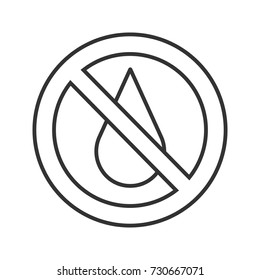 Forbidden sign with liquid drop linear icon. Thin line illustration. Water wasting prohibition. Stop contour symbol. Vector isolated outline drawing