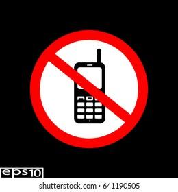 Forbidden sign No phone - vector illustration