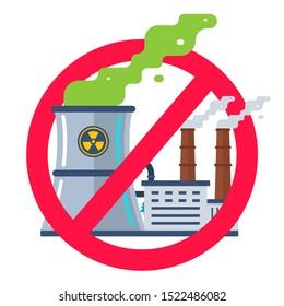 forbidden sign of nuclear plants. flat vector illustration