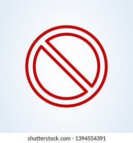 Forbidden sign red flat style. Line art Vector illustration icon isolated on white background