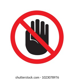 Forbidden sign with stop hand glyph icon. No entry prohibition. Do not touch. Silhouette symbol. Negative space. Vector isolated illustration.